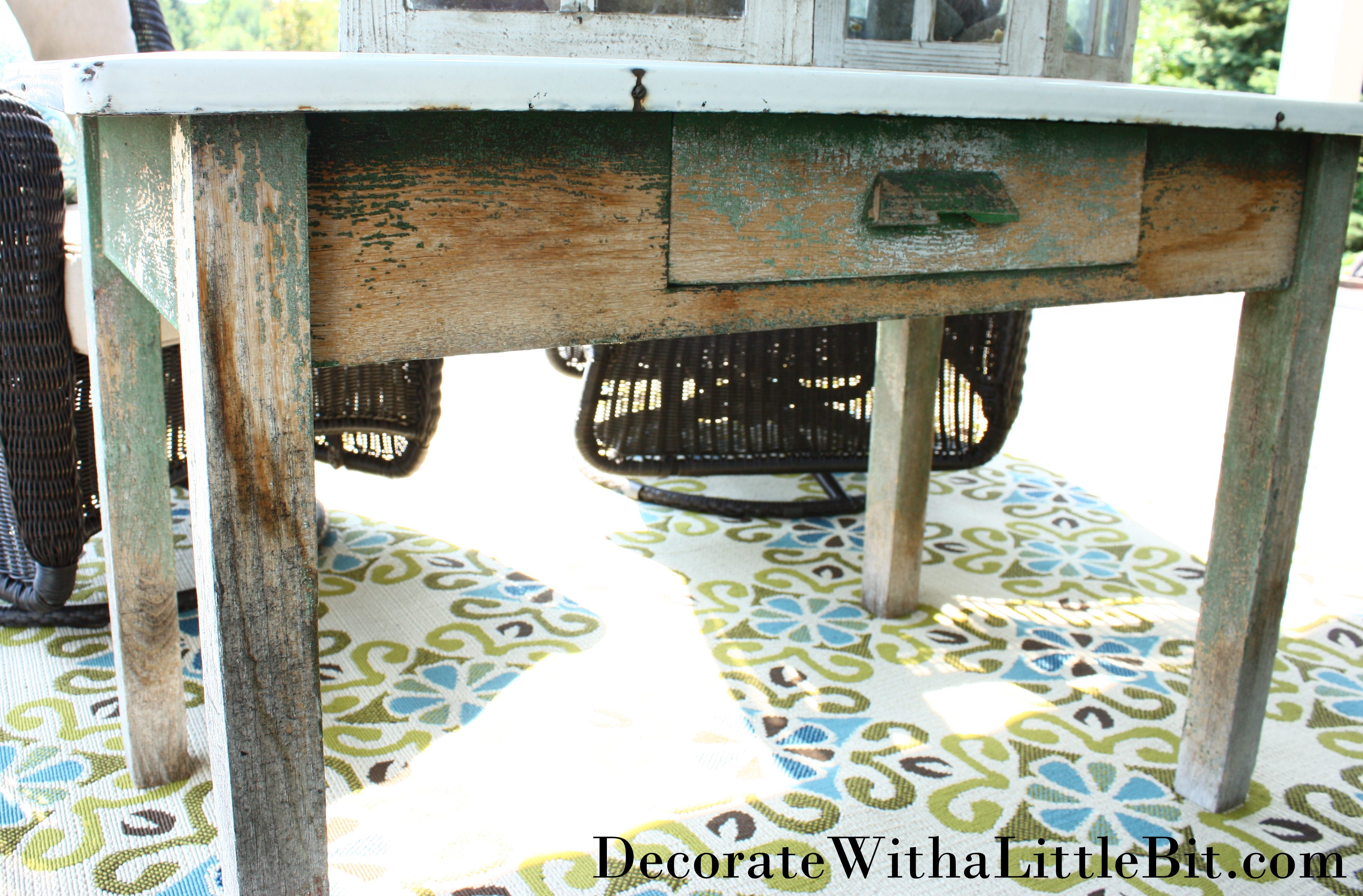Our House: Vintage Enamel Top Table finds New Life on the Porch