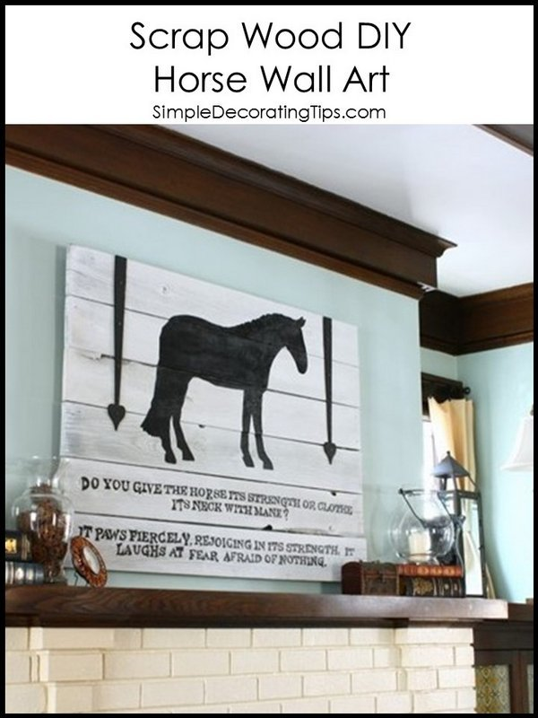 Scrap Wood DIY Horse Wall Art SimpleDecoratingTips.com