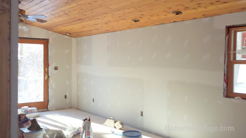 HometoCottage.com breakfast room before with sheetrock done