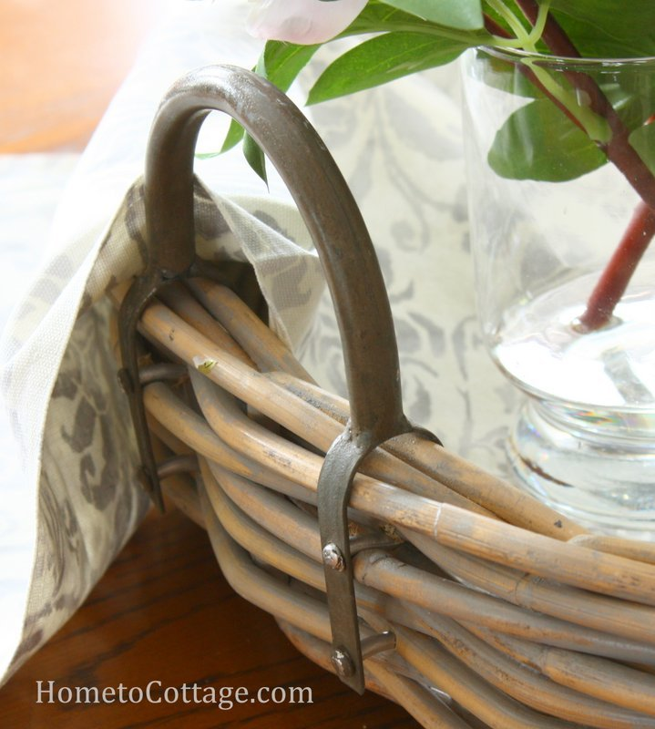 HometoCottage.com basket with metal handle detail