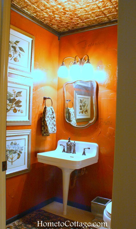 HometoCottage.com glued on faux tin tile ceiling in powder room