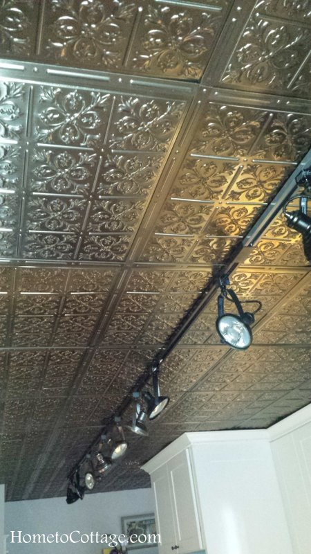 HometoCottage.com kitchen drop ceiling with faux tin tiles