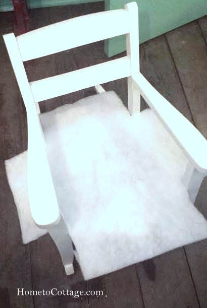 HometoCottage.com vintage rocking chair padding before attached