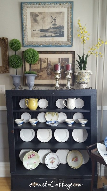 HometoCottage.com arrangement on black plate cupboard