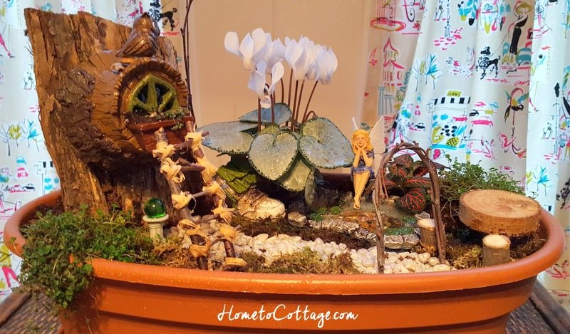 HometoCottage.com miniature fairy garden kid's craft all done