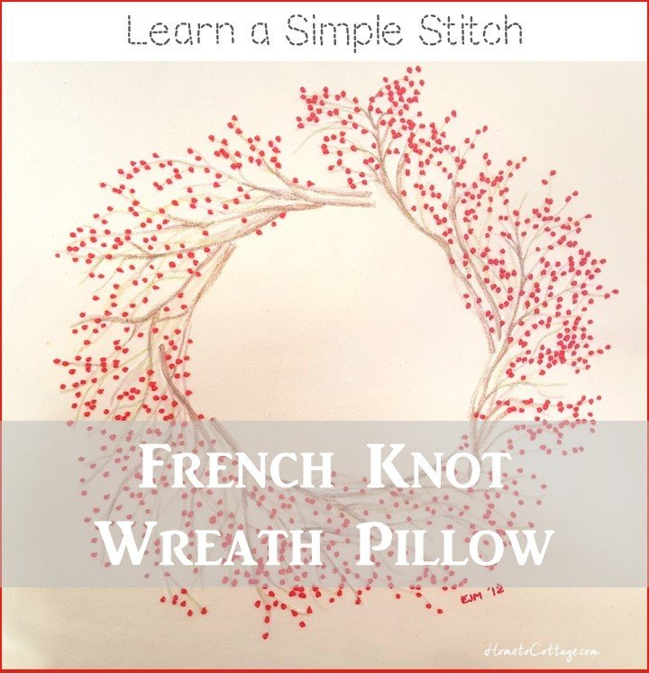 HometoCottage.com french knot wreath pillow