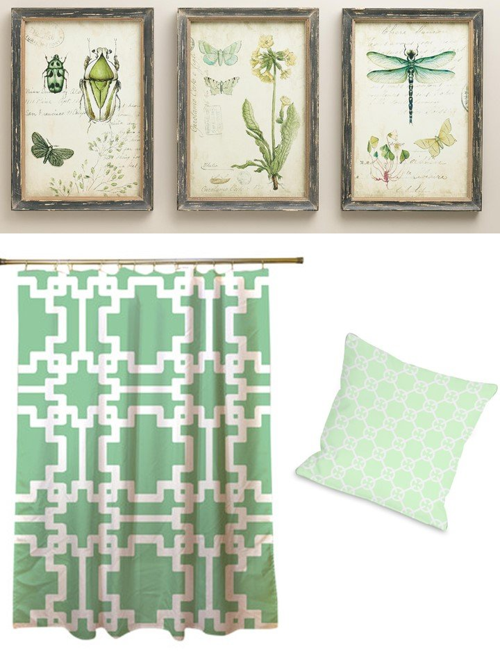 HometoCottage.com mint green prints, pillow shower curtain.