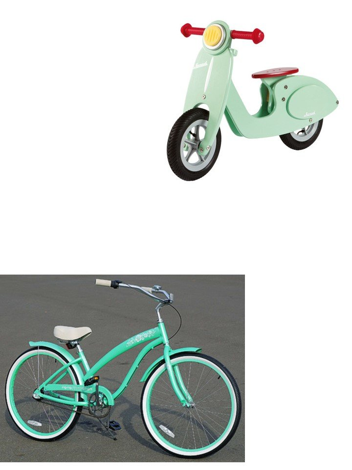 HometoCottage.com mint green scooter and bike