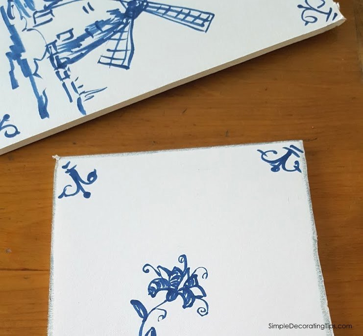 SimpleDecoratingTips.com How I Made Faux Delft Tiles