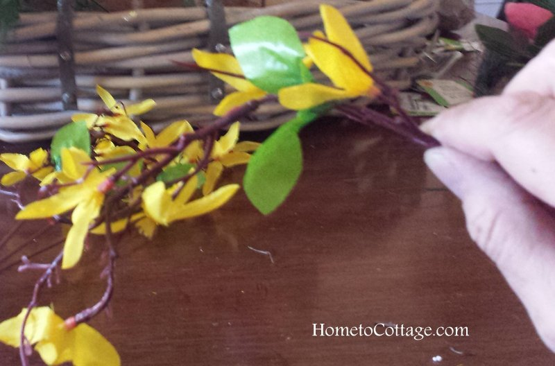 HometoCottage.com bend branch before you place it on wreath