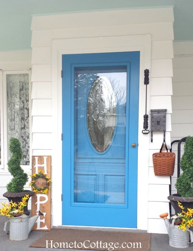 HometoCottage.com Watering Cans Flanking Front Door
