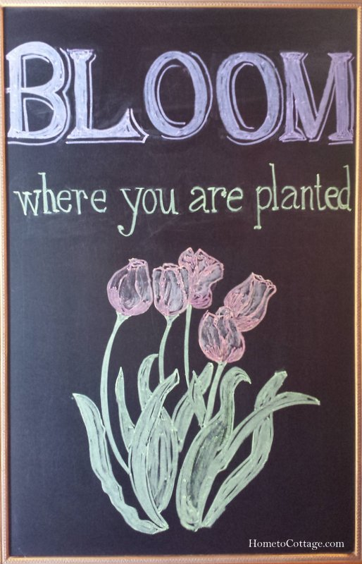 HometoCottage.com bloom where you are planted Chalkboard art