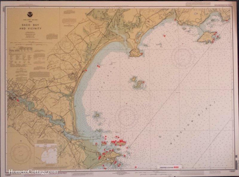 HometoCottage.com chart of Saco Bay shipwrecks