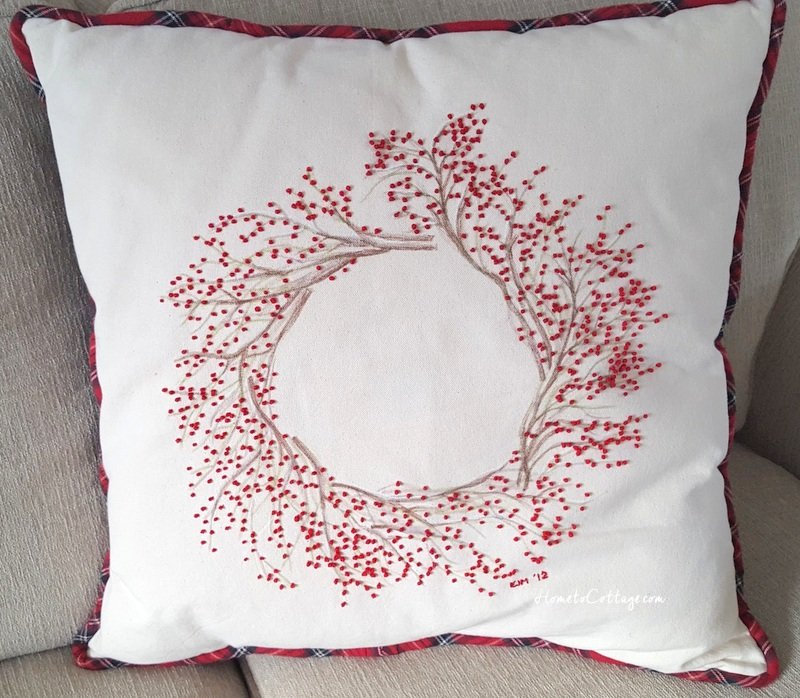 HometoCottage.com french knot red berry wreath pillow finished