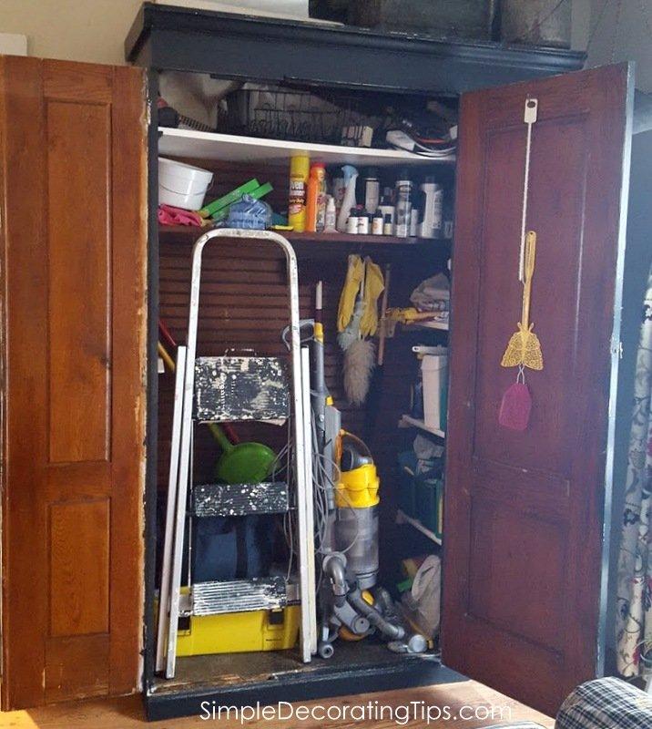SimpleDecoratingTips.com both doors open on antique cupboard