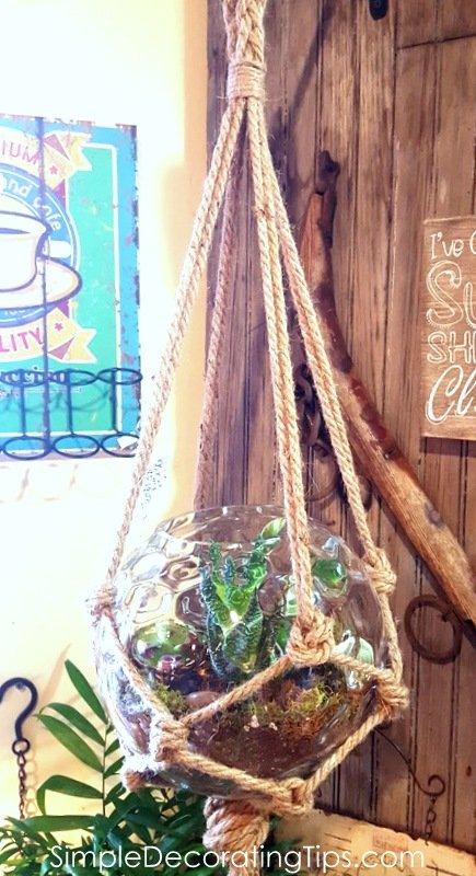 SimpleDecoratingTips.com hanging glass planter