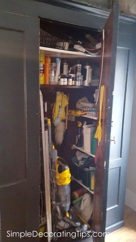 SimpleDecoratingTips.com antique utility cupboard one door open
