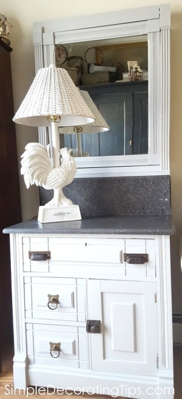 SimpleDecoratingTips.com antique dry sink re-do all done