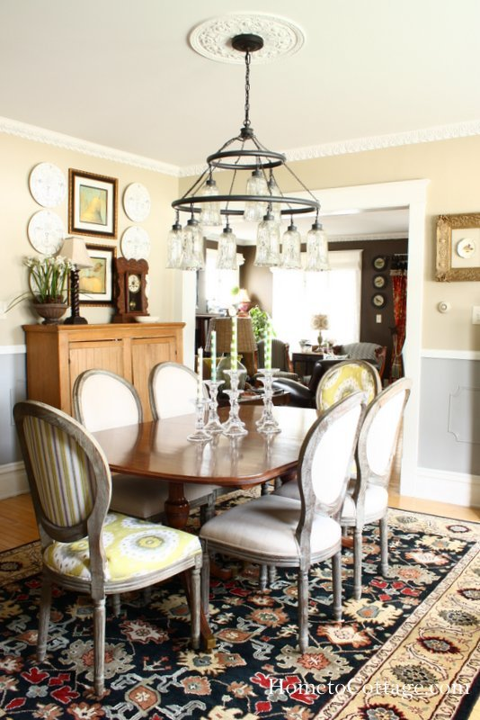 HometoCottage.com dining table with contrasting chairs