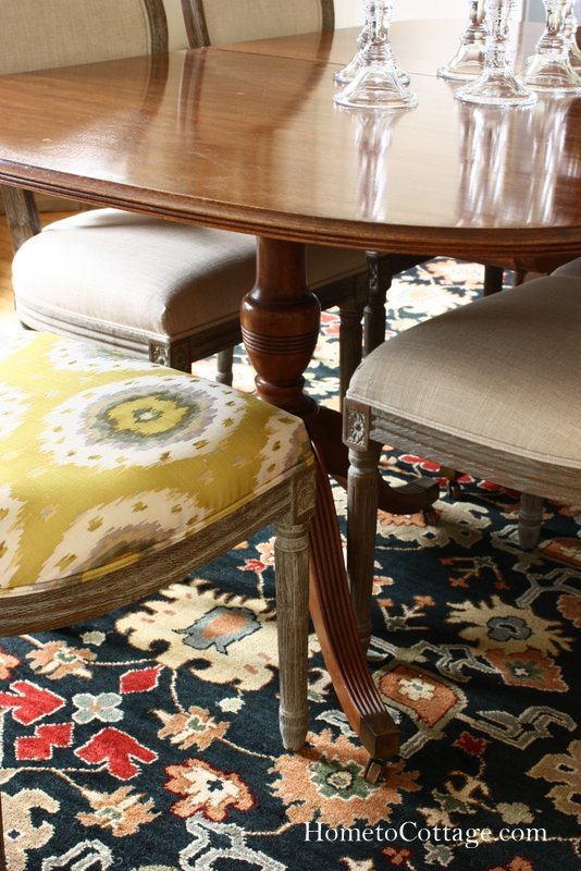 HometoCottage.com chartreuse fabric with wood table
