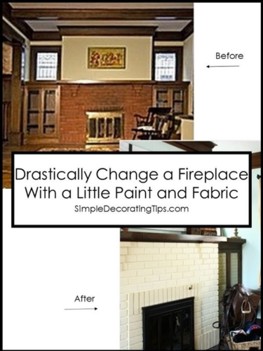 drastically change a fireplace with a little paint and fabric