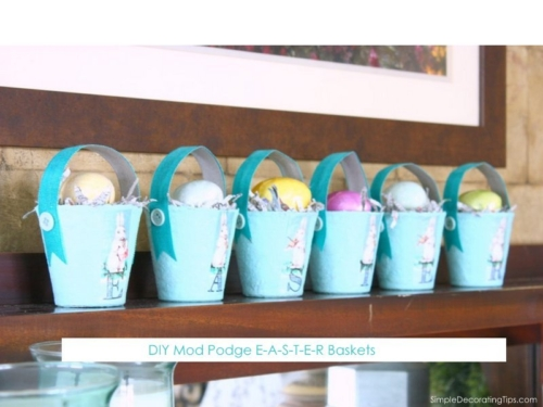 DIY Mod Podge Easter Baskets