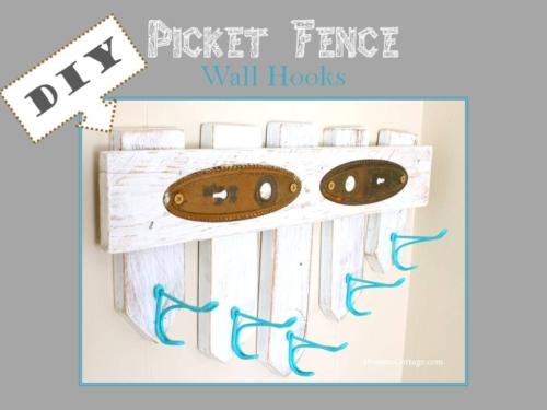 DIY Picket Fence Wall Hooks