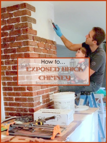 DIY Faux Exposed Brick Chimney