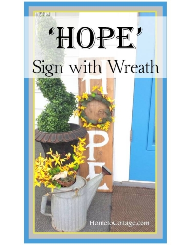 DIY Hope sign with wreath