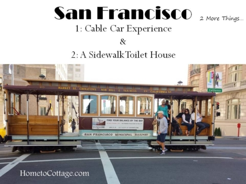 San Francisco cable car  sidewalk toilet