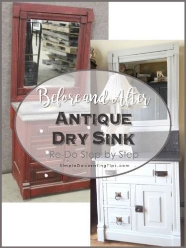before and after antique dry sink re-do step by step